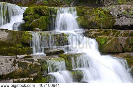 Waterfall in Ordesa and Monte Perdido National Park.  Pyrenees mountain. Province of Huesca, Spain.