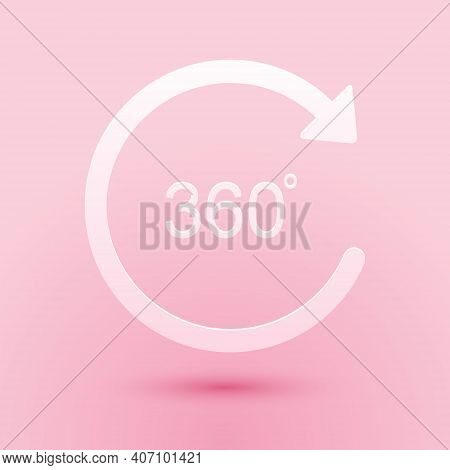 Paper Cut Angle 360 Degrees Icon Isolated On Pink Background. Rotation Of 360 Degrees. Geometry Math