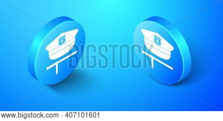 Isometric Police Cap And Rubber Baton Icon Isolated On Blue Background. Security Truncheons. Police