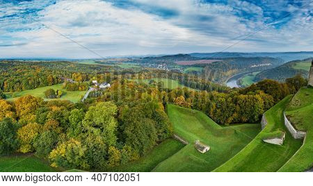 Saxon alps and view of Sonnenstein Castle