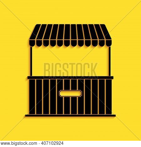 Black Street Stall With Awning And Wooden Rack Icon Isolated On Yellow Background. Kiosk With Wooden