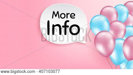 More Info Symbol. Pink Balloon Vector Background. Navigation Sign. Read Description. Birthday Balloo