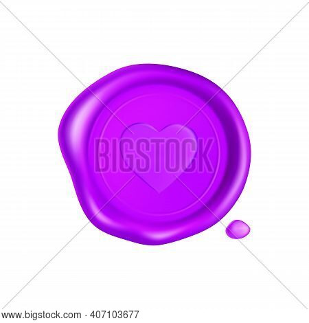 Purple Wax Seal With Heart. Wax Seal Stamp Isolated On White Background. Realistic Guaranteed Purple