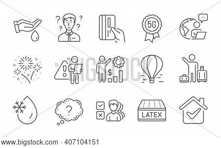 Wash Hands, Opinion And Fireworks Line Icons Set. Support Consultant, 5g Technology And Payment Card