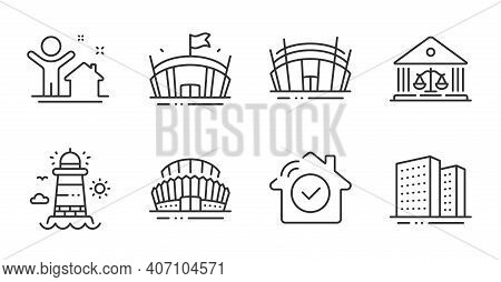 Lighthouse, New House And Arena Line Icons Set. Arena Stadium, Buildings And Sports Stadium Signs. H
