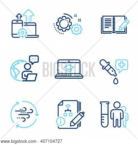Science Icons Set. Included Icon As Gears, Algorithm, Feedback Signs. Seo Devices, Chemistry Pipette
