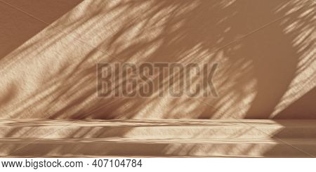 Minimal Product Mockup Background With Beige Wall And Sunshade Shadows. Brown Stone Cosmetics Produc