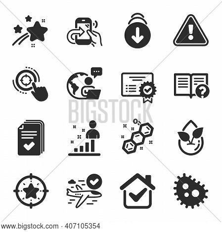 Set Of Technology Icons, Such As Certificate, Seo Target, Chemical Formula Symbols. Star Target, Org
