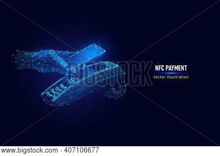 Customer Hand Paying Using Nfc Technology With Phone, Contactless Payment Digital Wireframe Made Of