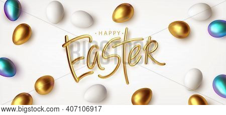 Easter Greeting Background With Realistic Golden, Blue, White Easter Eggs. Vector Illustration Eps10