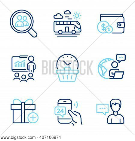 Business Icons Set. Included Icon As Search Employees, 24h Service, Add Gift Signs. Person Talk, Pre