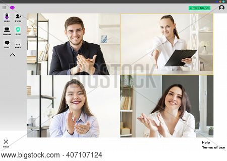 Video Chat. Web Conference. Group Telework. Online Presentation Wfh. Professional Team Applauding Gr