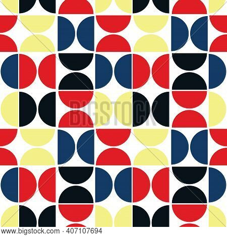 Seamless Pattern With Geometric Shapes. Semicircle On A White Background