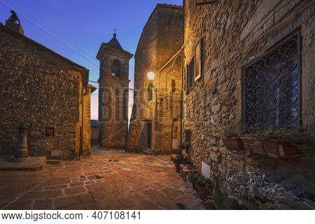 Casale Marittimo Old Village In Maremma At Sunset. Picturesque Flowery Square And Campanile Tower. T