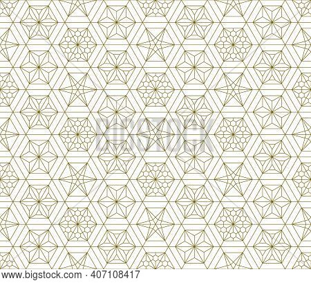 Japanese Seamless Kumiko Pattern In Golden With Fine Lines.a Combination Of Four Types Of Ornaments.