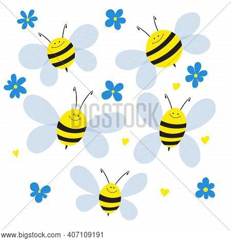 Big Set Of Cartoon Bee Mascot. A Small Bees Flies And Flowers. Wasp Collection. Vector Characters. I