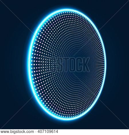 Circle Particle Tech Dynamic Wave Light Halo Abstract Vector Background