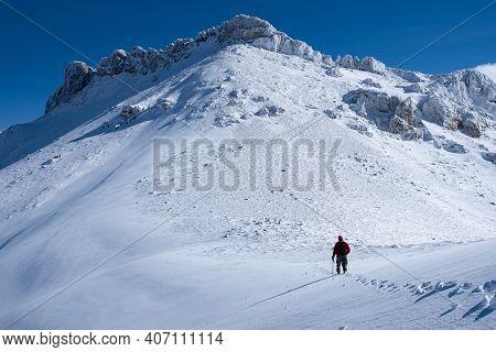 Winter Hiking Sport At High Peaks And Peak Success