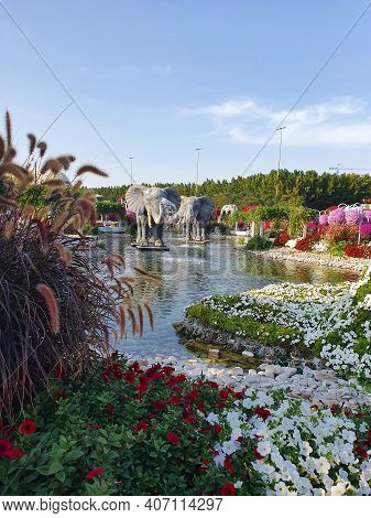 Dubai, Uae - February 25, 2020: Miracle Garden Is One Of The Main Tourist Attractions In Dubai, Uae