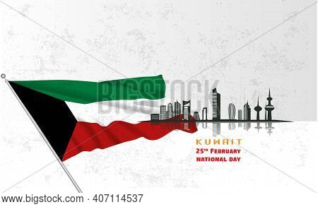 Vector Illustration Of Kuwait Happy National Day 25 Februay. Arabic Calligraphy Translation : Kuwait