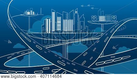 Future City Transportation Concept. Futuristic Cities Business Life With Innovative Architecture And