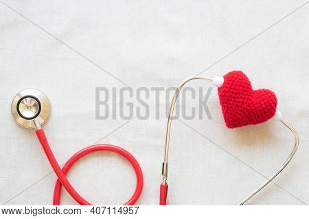 Red Heart And Stethoscope On White Isolated Background, Copy Space. Concept For Heart Health, Cardio