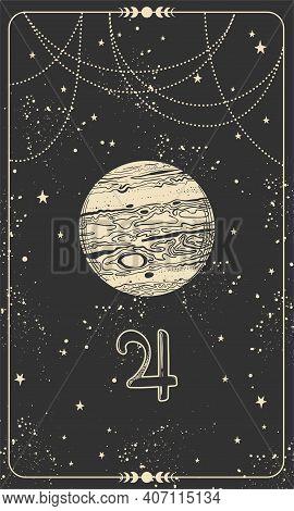 Planet Jupiter, Linear Hand Drawing On A Black Space Card With Stars. Symbol For Astrology, Signs Of