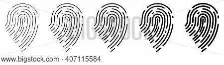 Fingerprint Icon. Set Of Fingerprints. Concept Of Fingerprint Recognition. Black Vector Icon
