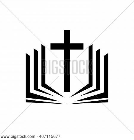 Christian Cross Icon. Vector Christian Cross. Black Religion Logo. Vector Illustration. Christian Ch