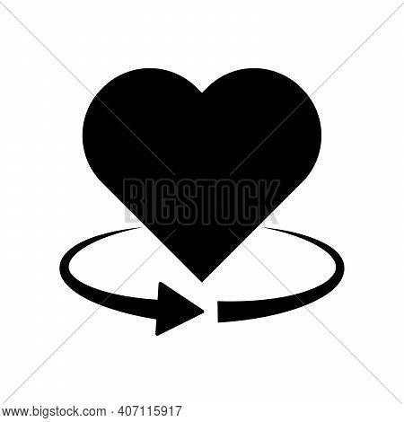 Heart Rotation Icon. 360 Degree Rotation. Black Heart Icon. Love Symbol. Vector Illustration.