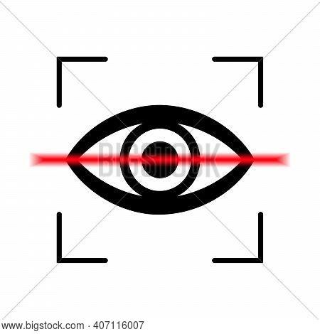 Eye Scan Icon. Retina Scan Concept. Black Security Lock Logo. Vector Illustration
