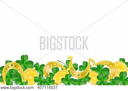 St. Patrick's Day Border With Green Shamrock Leaves, Gold Coins And Horseshoes Isolated On White Bac