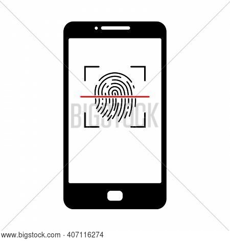 Smartphone Unlocking Icon. Fingerprint Scan Icon. Vector Illustration. Phone Unlocking Conceptual Ic