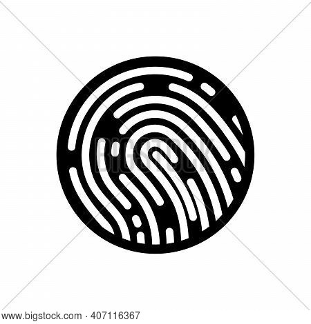Fingerprint Icon. Black Thumbprint Button. Concept Of Fingerprint Recognition. Vector Illustration