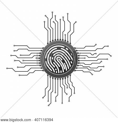 Electronic Security System With Fingerprint Scanner. Personal Padlock Icon. Vector Illustration. Fin