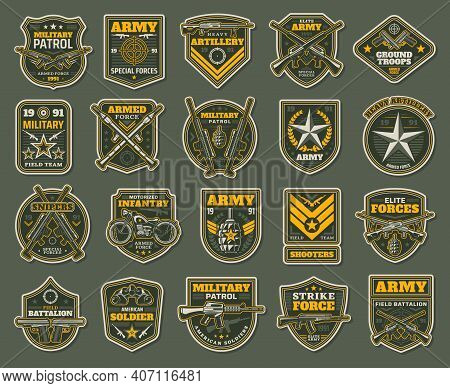 Army Special Forces, Military Specialists Badges Set. Artillery, Snipers And Infantry Patrol Emblems