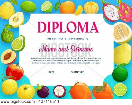 Education School Diploma With Tropical Fruits Vector Template, Kindergarten Certificate With Cartoon