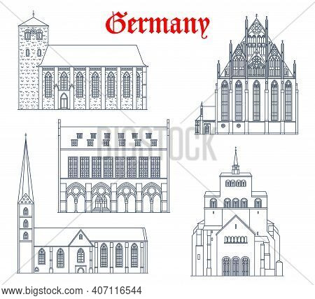 Germany Landmark Buildings, Cathedrals And Churches, German Travel Architecture Vector Icons. St Wil
