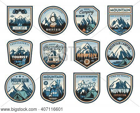 Mountain Travel, Tourism, Camping Active Leisure Isolated Vector Icons. Hiking Tools, Travel Trailer