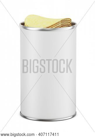 Blank open white cardboard cylinder box can with potato chips. Cips can tube mock up. 3d rendering