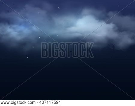 Night Sky With Clouds And Stars Realistic Vector Background. 3d Dark Blue Midnight Heaven With Foggy
