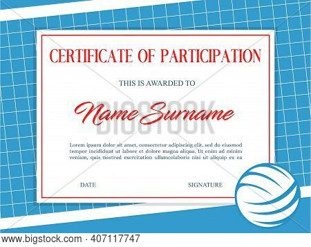 Certificate Of Participation In Volleyball Tournament. Sports Club Diploma Vector Template. Sport Aw