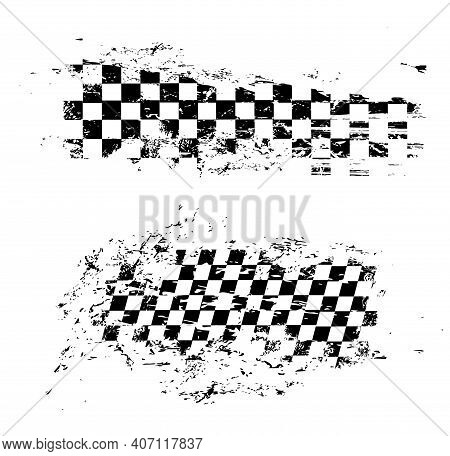 Race Flag Grunge Pattern, Vector Checkered Monochrome Sport Racing Flag Texture Isolated On White Ba
