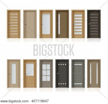 Interior Doors Isolated Vector Realistic Design Elements For Room Or Office Decoration, 3d Wooden Br