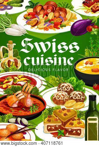 Swiss Cuisine Vector Engadinsky Nut Pie, Busseco Soup, Raclette With Potatoes, Sable Breton Cookies.