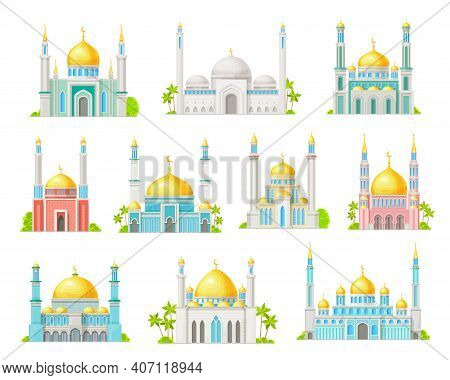 Muslim Mosque Building Cartoon Icons Of Vector Islam Religion Architecture. Arab Mosque Or Masjid Is