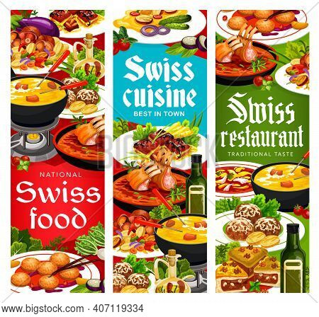 Swiss Cuisine Vector Busseco Soup, Raclette With Potatoes And Sable Breton Cookies With Cheese Fondu