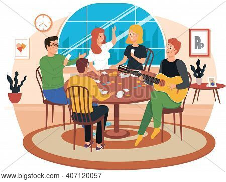 People Playing Board Game. Man Sings Songs. Guy Playing Guitar. Friends Have Fun At Home. Girls Disc