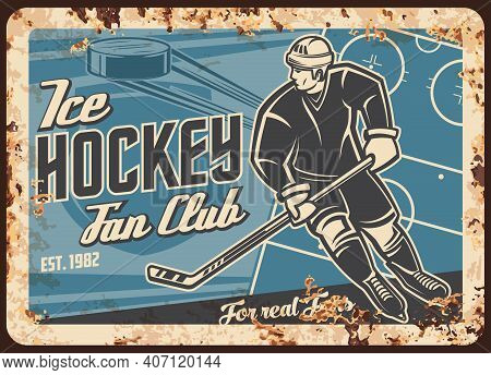 Ice Hockey Sport Star Or Team Fan Club Vector Retro Banner. Skating With Stick Hockey Player, Flying