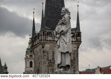 Prague, Czech - April 24, 2012: This Is One Of The Figures (saint Philip Benicius) On The Charles Br